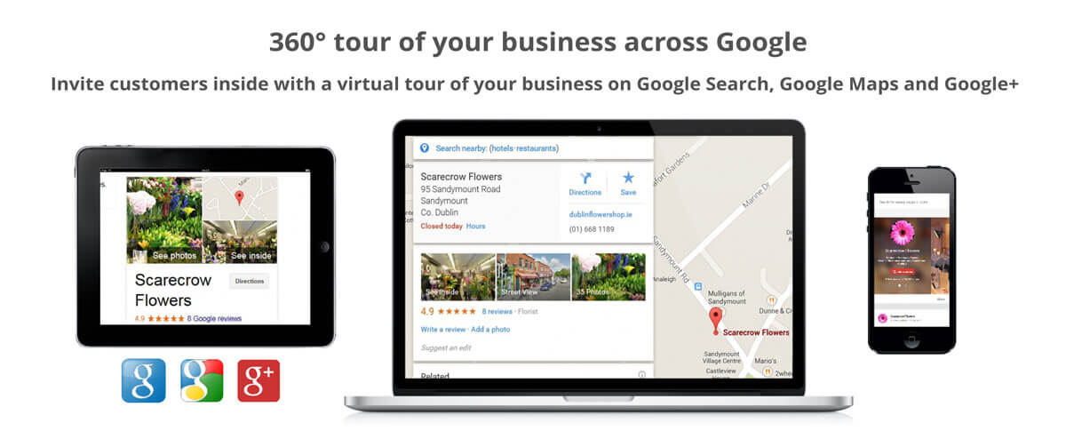 360 degree tour of your business across Google. Invite customers inside with a virtual tour of your business on Google Search, Google Maps and Google+