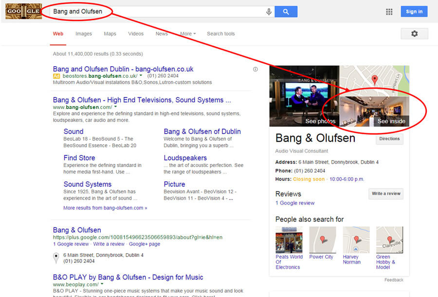 Bang and Olufsen Google Search Result