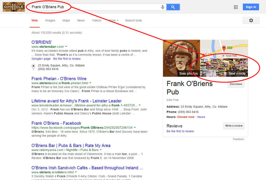 Frank O'Briens Pub Google Search Result