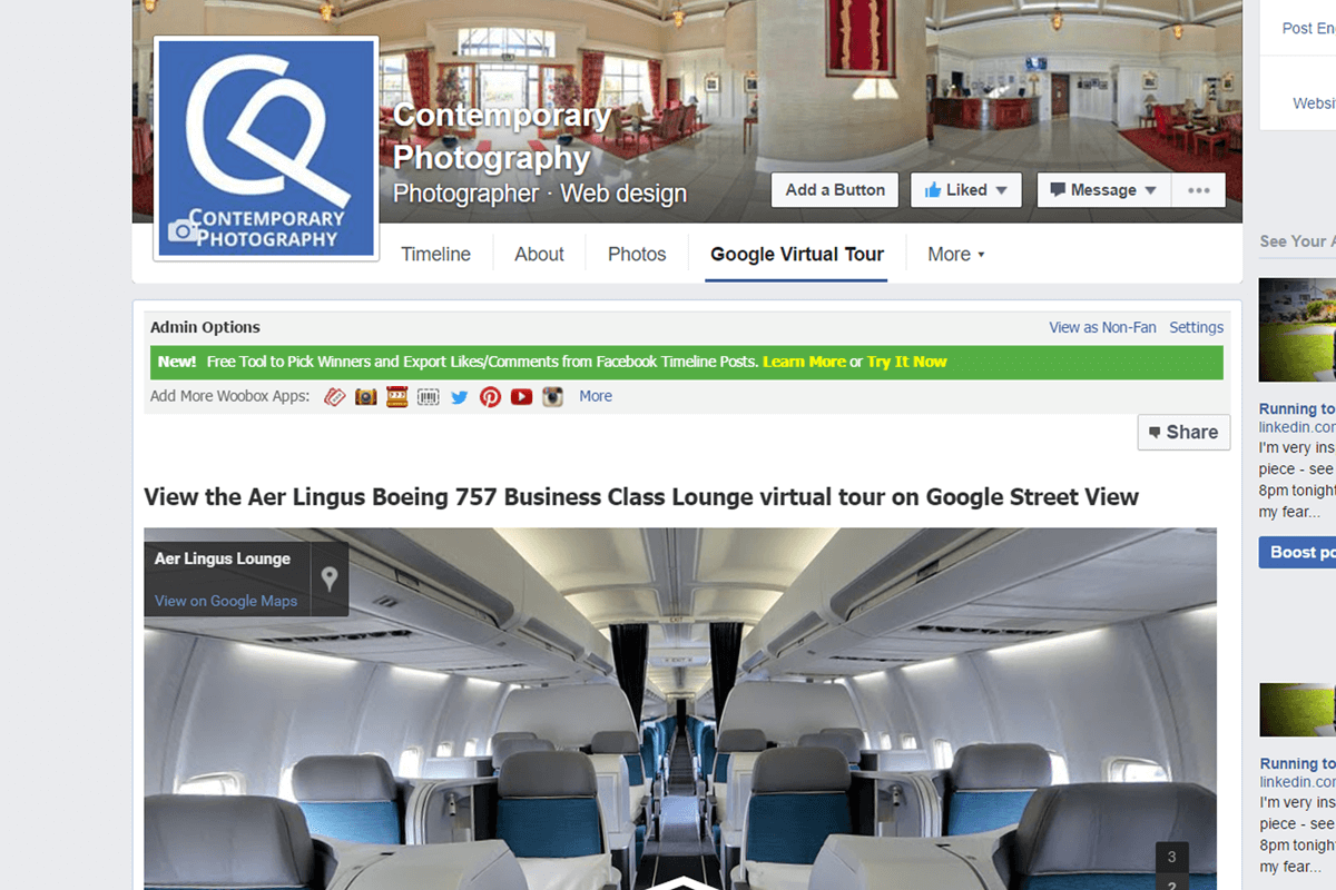 aer lingus google tour embedded in facebook