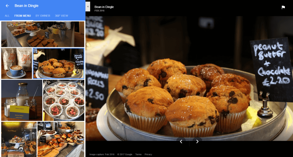 google photo search results from menu tab